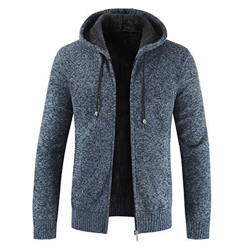 Mantener Hombre Prendas Capucha Color Blue Ocio Con Espesar Para Cardigan Suéter Punto Abrigado Abrigo Sólido Invierno De twqRvX0