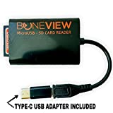 BoneView Trail Camera Viewer for Type-C Reversible USB Android Phones, SD and Micro SD Memory Card Reader to View Deer Hunting Photo and Video of any Motion Scouting Game Cam on Smartphone or Tablets