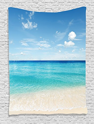 (Ambesonne Ocean Decor Collection, Tropical Caribbean Sea Shore Sand Beach and Peaceful Sea Picture, Bedroom Living Kids Girls Boys Room Dorm Accessories Wall Hanging Tapestry, Aqua Blue White Ivory)