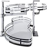 Hardware Resources BCSO18PCWH-LH White Left Handed Blind Corner Swing Out, White with Chrome