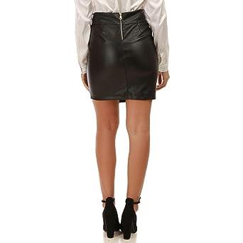 190c71ddbc2a92 La Modeuse - Jupe Courte Noire en Simili Cuir: Amazon.fr: Vêtements ...