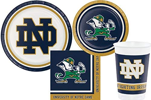 University of Notre Dame Fighting Irish Party Supply Pack - Bundle Includes Plates, Napkins and Cups - Serves 8 -