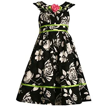 Size-6X,BNJ-7252R BLACK WHITE GREEN JACQUARD FLORAL PRINT Special Occasion Wedding Flower Girl Easter Party Dress,R37252 Bonnie Jean Girls 4-6X