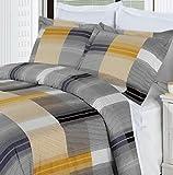 Duvet Cover Black Yellow Gold Gray Plaid Pattern King/Cal King 100 Egyptian Cotton 3 Piece Men Reversible Bedding Shams Pillowcase Set