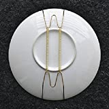 "SAGUARO Pack of 10 12-Inch Spring Style Invisible Plate Tray Dish Wire Hanger Holders Brass Coated, Holds 10.5"" to 12.5"" Plates"