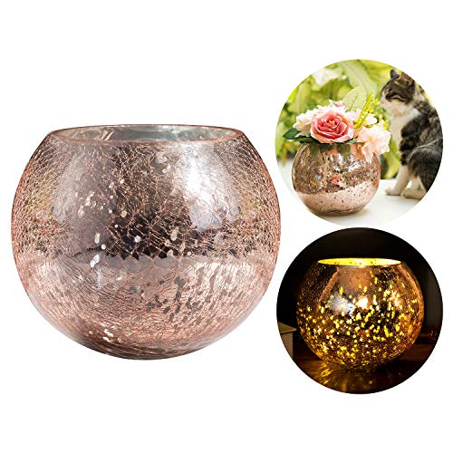 Diamond Star Mercury Glass Vase Ice Cracked Glass Candle Holder Home Decorative Round Flower Vase Wedding Table Centerpieces (Large)