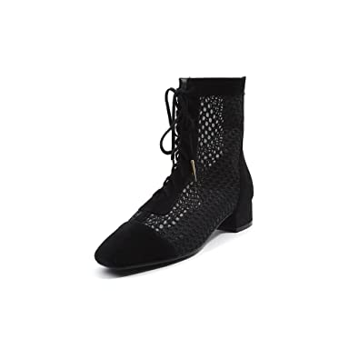 469597dc2f16 Nine Seven Genuine Suede Leather Women s Lace up Hollow Out Ankle Booties -  Back Zip