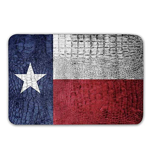 - Western Decor Front Door Mat,Texas State Flag Painted on Luxury Crocodile Snake Skin Texture Looking Patriotic Emblem Decorative Doormat for Inside or Outside,31.5