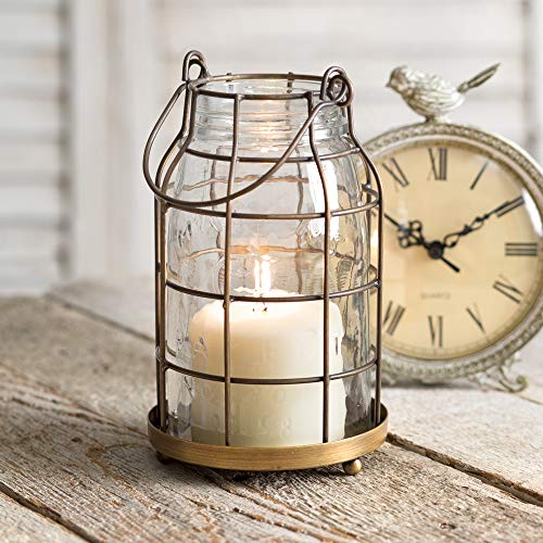 Attractive and Graceful Quart Mason Jar Candle Cage - Antique Brass Metal Lantern Candle Holder with Clear Glass, Rustic Indoor/Outdoor Light for Your Home Decor - Modern Rustic Vintage Farmhou