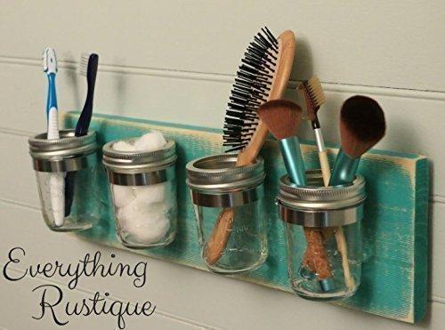 Mason Jar Organizer, Bathroom Storage, Mason Jar Decor, Mason Jar Bathroom  Set,