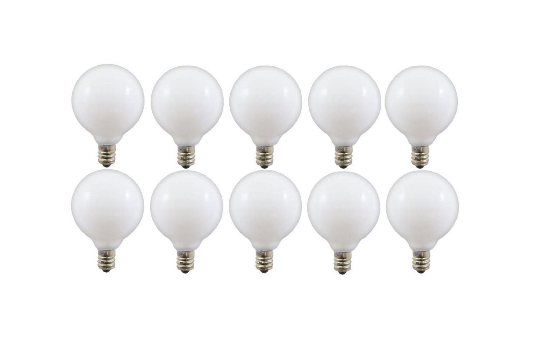 40-watt G16.5 Decorative Globe E12 Candelabra Base Light Bulbs, White, 10-Pack
