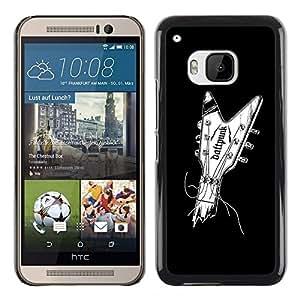 Shell-Star Arte & diseño plástico duro Fundas Cover Cubre Hard Case Cover para HTC One M9 ( Guitar Music Minimalist Black White )