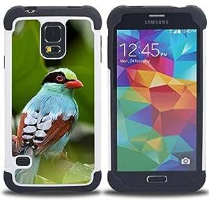 Híbrido Heavy Duty armadura cubierta silicona prueba golpes Funda caso resistente para SAMSUNG Galaxy S5 V / i9600 / SM-G900 V SM-G900 , ( Feuilles Été Tropical Nature Oiseau )