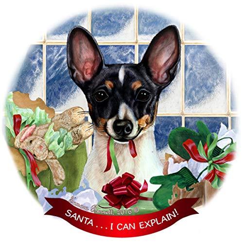 Toy Fox Terrier Black Tri Dog Porcelain Ornament Pet Gift 'Santa. I Can Explain!'