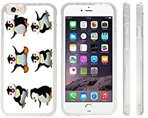 Rikki KnightTM Happy Penguins 3D Design iPhone 6 Case Cover (Clear Rubber with front bumper protection) for Apple iPhone 6