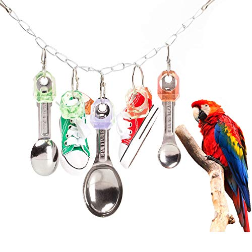 SLSON Hanging Chew Toy for Parrot Bird Cage Bite Toys Metal Spoon and Sports Shoes Toy for African Grey Parrots, Cockatoos, Macaws,Amazon Conure