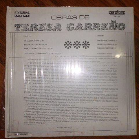 Teresa Carreño, Rosario Marciano - Teresa Carreño _ Seis Piezas Al Piano Rosario Marciano (Carofono Lp - 023) - Amazon.com Music