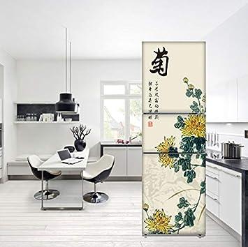 Estilo chino extraíble Diy nevera pegatina para cubrir puertas ...