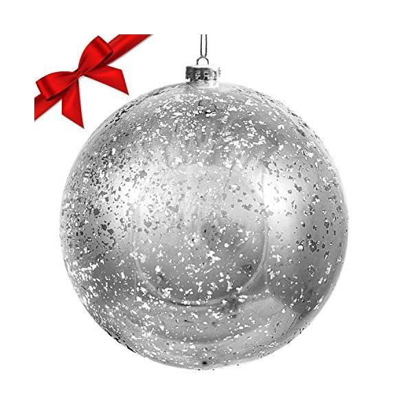 Palline di Natale Grandi Argento - Palline di Natale Argento da 19,5cm con Corda - Addobbi Natalizi Palle di Natale Argento - Palline di Natale Grandi in Plastica- Decorazioni Albero di Natale Argento 1 spesavip