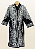 STUNNING UZBEK SILVER SILK EMBROIDERED ROBE CHAPAN FROM BUKHARA A7701