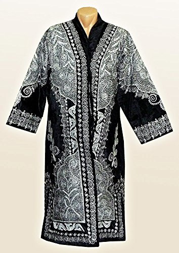 STUNNING UZBEK SILVER SILK EMBROIDERED ROBE CHAPAN FROM BUKHARA A7701 by East treasures