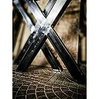 Coppia gambe tavolo in ferro ad X