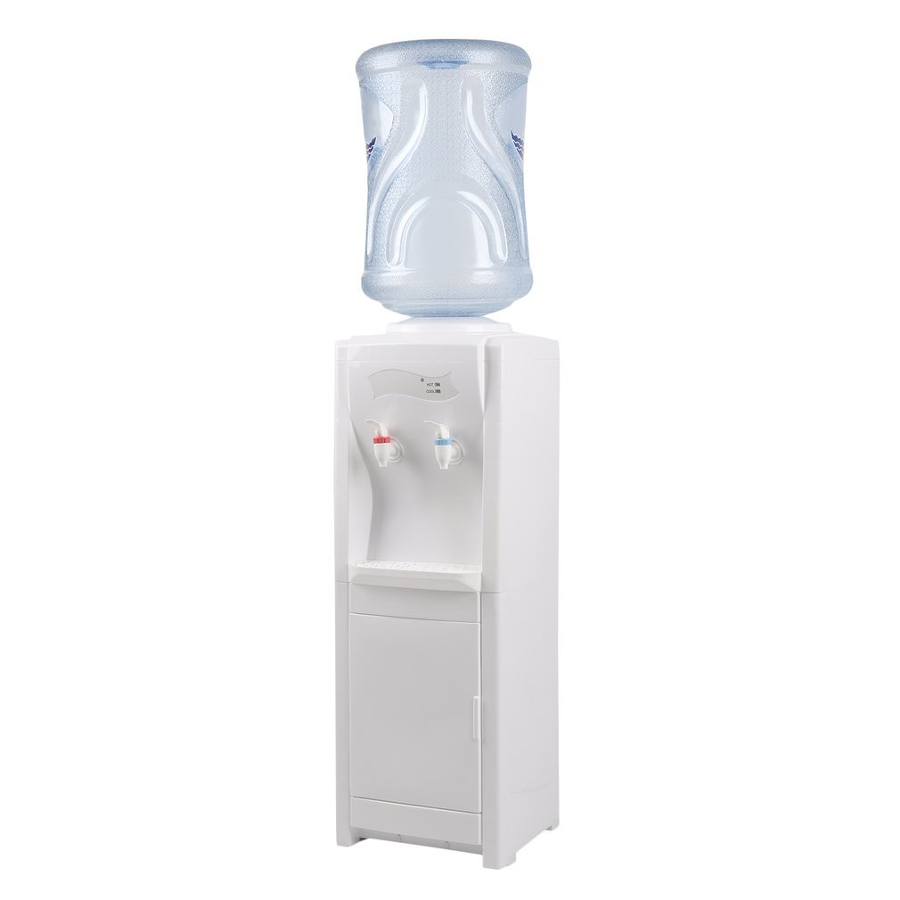 Water Cooler Dispenser with Storage Cabinet, Accepts 5 Gallon Water Bottles, Floor Standing, Easy to Clean and Maintain, Durable Build, Suitable For Home & Office