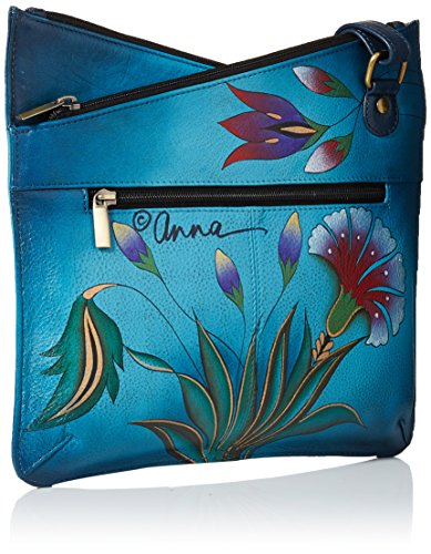 Anna Top Crossbody Anuschka Hand Multicompartment V Leather Garden Women'S Denim Painted Turkish ZnqRWdFqw