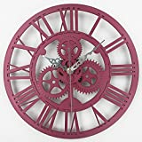 Timelike 13 Inch European Antique Gear Wall Clock Vintage Mechanical Gear Clock Large Gear Wall Clock for Art Home Living Room Wall Decoration (Red)