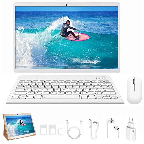 🥇 4G LTE Tablet 10 Pulgadas 4GB de RAM y 64 GB de Memoria con Android 9.0 4G LTE/WiFi 8000mAh Batería Quad-Core 8MP Cámara Tablet PC Dobles SIM GPS OTG Bluetooth Soporte