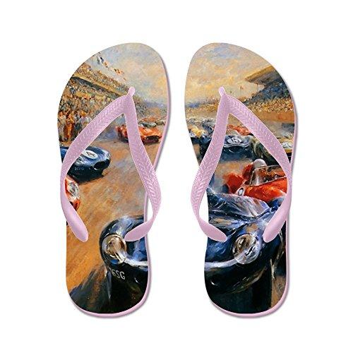 CafePress Vintage Car Race Painting - Flip Flops, Funny Thong Sandals, Beach Sandals Pink