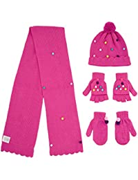 Big Girls' Pom Hat and Scarf with Mittens and Popover Gloves 4 Piece Set