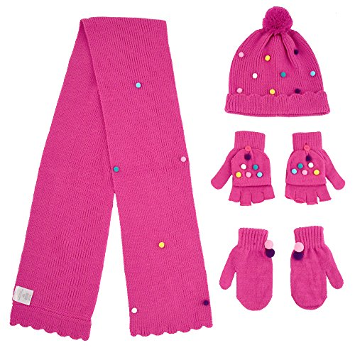 Girls' Pom Hat and Scarf with Mittens and Popover Gloves 4 Piece Set, Pink, Age 7-14 ()