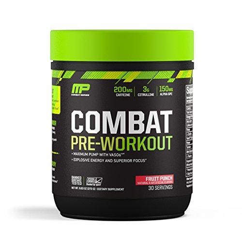 MusclePharm Combat Pre-Workout, 200 mg of Caffeine, Explosive Energy Powder, 400 mg of Tyrosine, 150 mg of Alpha GPC, Banned-Substance Tested, Fruit Punch, 1.99 lbs., 30 Servings