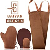 GAIYAH Self Tanning Mitt Applicator Kit, With Back Lotion Applicators For Your Back, Exfoliator Glove and Finger Face Mitt