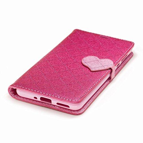 Yiizy Nokia 5 Custodia Cover, Amare Design Sottile Flip Portafoglio PU Pelle Cuoio Copertura Shell Case Slot Schede Cavalletto Stile Libro Bumper Protettivo Borsa (Rose Red)