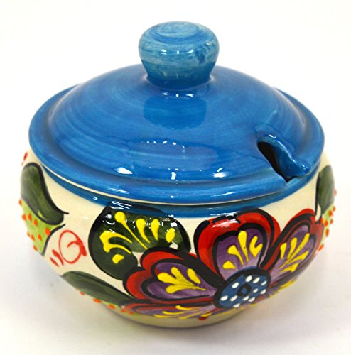 Ceramic SUGAR BOWL handmade and handpainted in flower decoration.4,72x 4,72 x 4,13 (LIGHT BLUE)