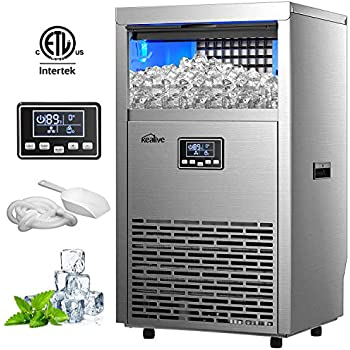 Kealive Commercial Ice Maker 99lbs in 24h with 33lbs Storage Capacity Freestanding Stainless Steel Ice Cube Machine, Auto Clean with Scoop and Connection Hoses for Shop Bars Home Supermarket, Sliver