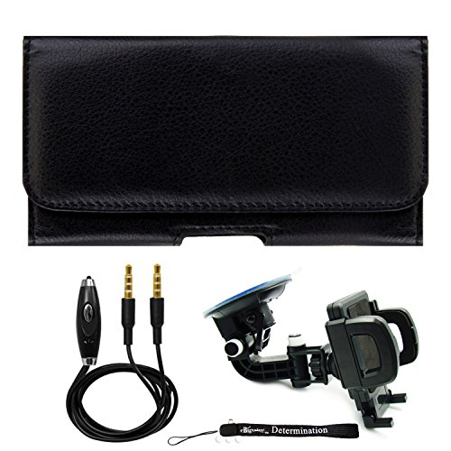 Black Leatherette Carrying Holster Mobile Case [CEL930] For Motorola RAZR HD | RAZR MAXX | XT910 Smartphone + Windshield Car Mount & AUX Cable (Motorola Razr Hd Xt925 Case)