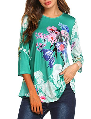 Pullover 3/4 Sleeve (Tobrief Juniors O Neck 3/4 Sleeve Casual Pullover Tops Loose Fit Tunics Shirts(S, Green))