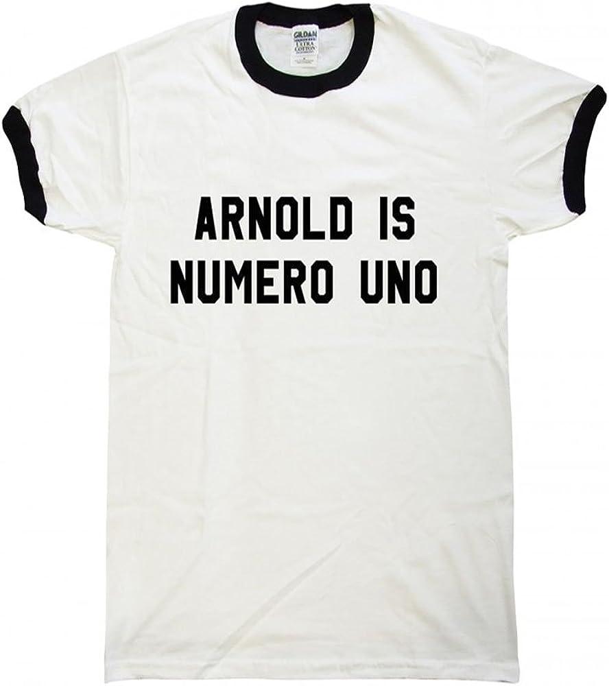 Your Name Schwarzenegger CUSTOMISABLE ARNOLD IS NUMERO UNO RINGER T-SHIRT