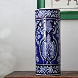Blue and White Fine Porcelain Decorative Vase Umbrella Stand, Handmade and Hand Painted (blue and white 10)