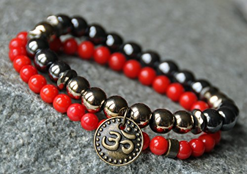 Grounding and Stability, Hematite Yoga Bracelet,Coral gemstone mala bracelet,Meditation Bracelet, Healing bracelet,Mantra bracelet,Buddha David Yurman Designer Bracelet