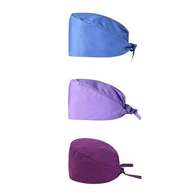 Rmeioel^ 3Pcs Scrub Cap Surgical Scrub Cap Bouffant Turban Cap with Sweatband Scrub Hat for Women/Men: Home & Kitchen