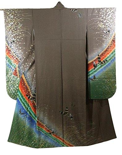 帰する届ける排泄するリサイクル 着物 振袖  曲線に蝶の群れや芝模様 正絹 袷 裄66cm 身丈170cm