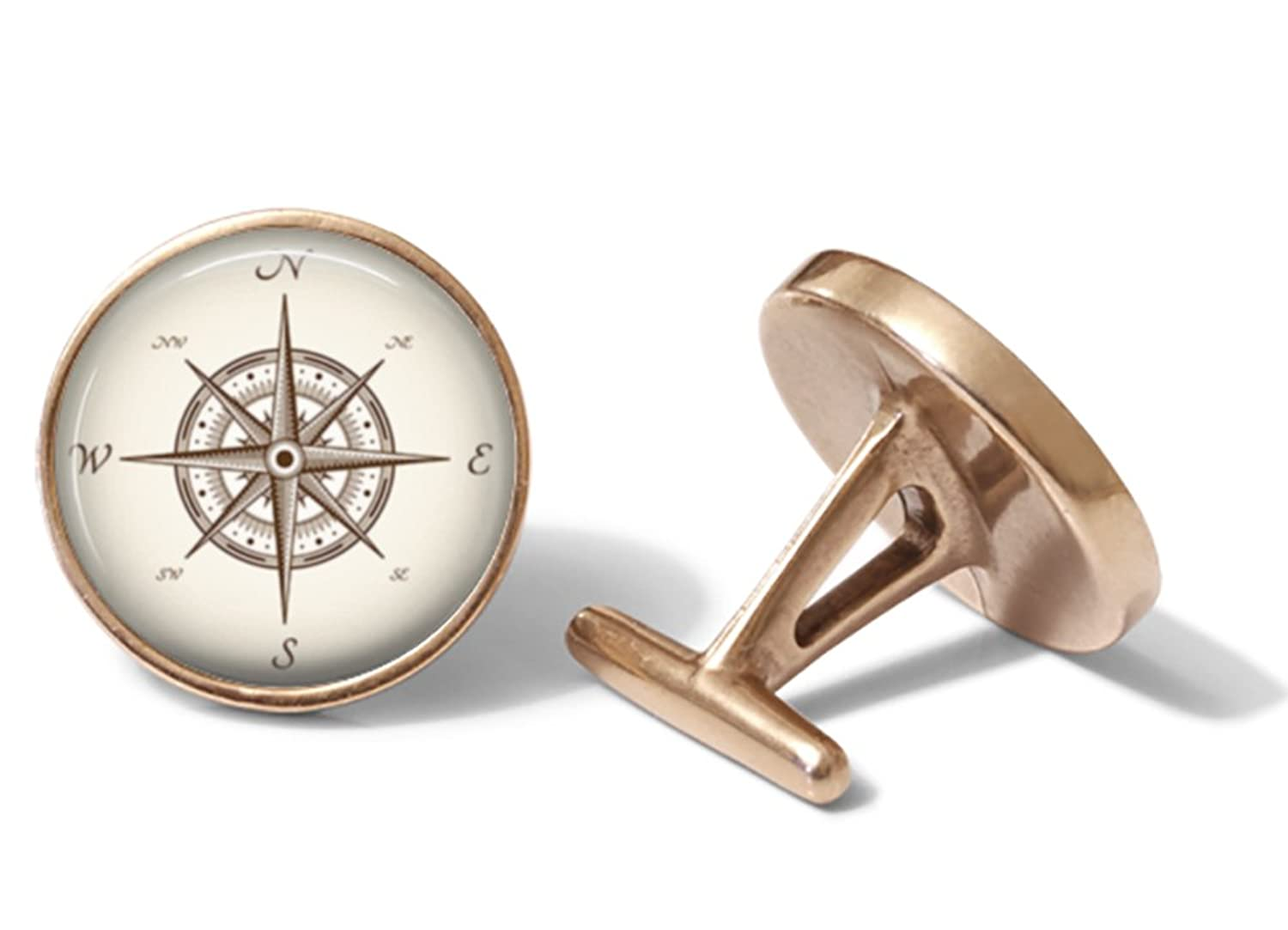 Classic Nautical Map Compass Cufflinks (Solid Bronze)