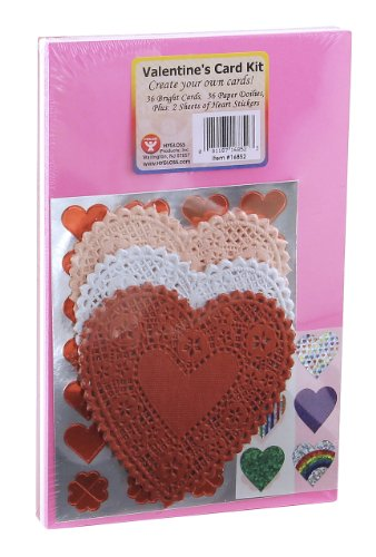 Hygloss Products Valentines Day Card Kit - Personalized Greeting Cards - 36 Bright cards - 36 Heart Paper Lace Doilies - Pink, White & Red - 2 Sheets of Heart Stickers