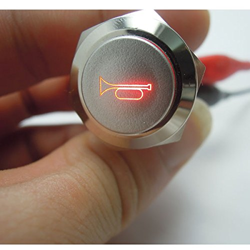 New 12V 5A 12V 19mm Red LED Momentary Push Button Metal Switch Car Boat Speakers Bells Horn daier 0056-R