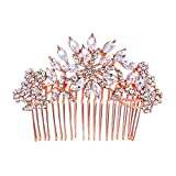 Ever Faith Bridal Flower Snowflake Hair Comb Clear Austrian Crystal Rose Gold-Tone N01163-3