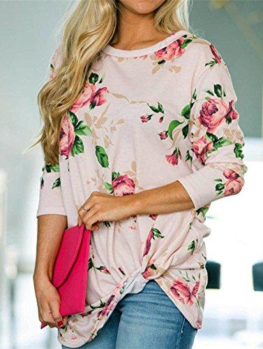 Blouse Stampa Moda Donna Shirt Girocollo Freestyle Felpe Camicie Rosa Manica Bluse Top Maglie Casual e Primavera Lunga Autunno T Orlo Maglietta Irregolare a Wx8qnwH41q